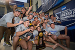 BERKELEY, CA - DECEMBER 04:  The University of California at Berkeley water polo team celebrates with the trophy following the Division I Men's Water Polo Championship held at the Spieker Aquatics Complex on December 04, 2016 in Berkeley, California.  Cal defeated USC 11-8 for the national title. (Photo by Justin Tafoya/NCAA Photos via Getty Images)