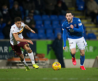 12th February 2020; McDairmid Park, Perth, Perth and Kinross, Scotland; Scottish Premiership Football, St Johnstone versus Motherwell; Drey Wright of St Johnstone races away from Jake Carroll of Motherwell