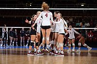 STANFORD, CA - December 7, 2018: Stanford beats Washington State 3-1 in the 2018 NCAA Women's Volleyball Regional Semifinal at Maples Pavilion.