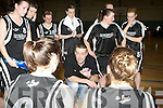 St Paul's coach Cormac O'Donoghue gives his players instructions during a time out during the Senior Women's National Cup semi final against Killester at the Parochial Hall, Cork on Saturday