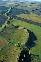 An esker snakes across the prairie, a sinuous gravel ridge formed by sub-glacial ice aged stream, near Dahlen, North Dakota, AGPix_0025