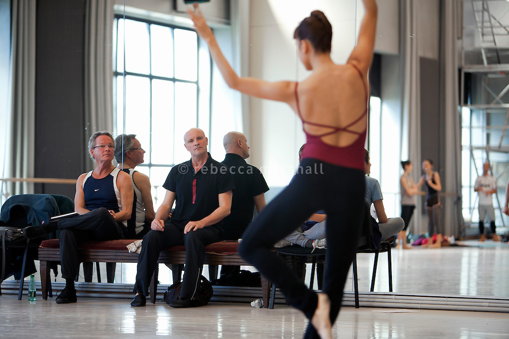 """Jean-Christophe Maillot, Director of the Ballets de Monte Carlo, oversees rehearsals of production """"LAC (After Swan Lake)"""" at the headquarters of the Ballets de Monte Carlo, Beausoleil, France, 27 February 2014"""
