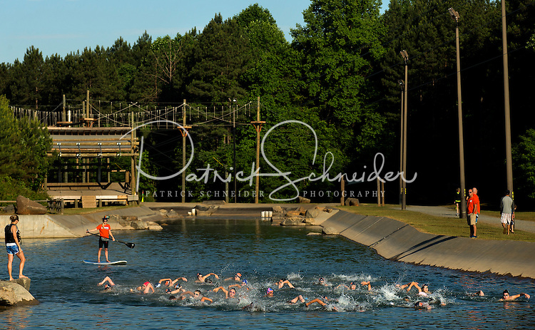 Sports Photography of SwimMAC Carolina during their Open Water swim training at the U.S. National Whitewater Center in Charlotte, NC.<br /> <br /> Charlotte Photographer - PatrickSchneiderPhoto.com