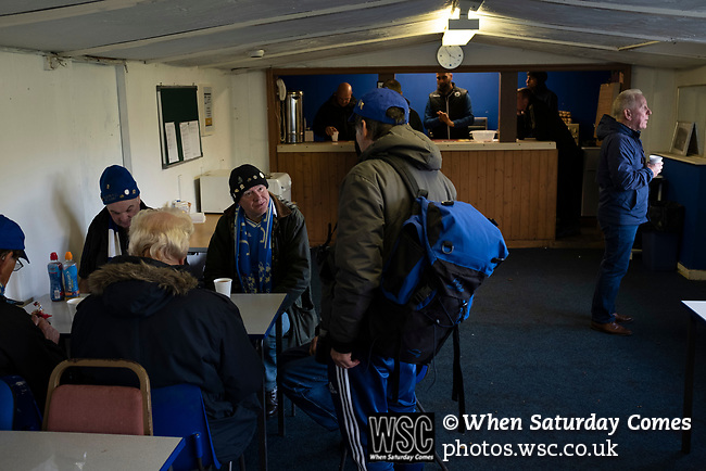 Nelson 3 Daisy Hill 6, 12/10/2019. Victoria Park, North West Counties League, First Division North. Home supporters chatting in the tea bar at half-time as Nelson hosted Daisy Hill at Victoria Park. Founded in 1881, the home club were members of the Football League from 1921-31 and has played at their current ground, known as Little Wembley, since 1971. The visitors won this fixture 6-3, watched by an attendance of 78. Photo by Colin McPherson.