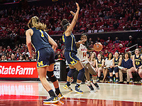 COLLEGE PARK, MD - DECEMBER 28: Diamond Miller #14 of Maryland pushes into Akienreh Johnson #14 of Michigan. during a game between University of Michigan and University of Maryland at Xfinity Center on December 28, 2019 in College Park, Maryland.