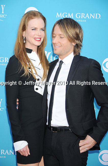LAS VEGAS, NV. - April 18: Nicole Kidman and Keith Urban arrive for the 45th Annual Academy of Country Music Awards at the MGM Grand Garden Arena on April 18, 2010 in Las Vegas, Nevada.