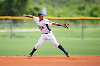 GCL Rays second baseman Cristhian Pedroza (39) throws to first base during the second game of a doubleheader against the GCL Twins on July 18, 2017 at Charlotte Sports Park in Port Charlotte, Florida.  GCL Twins defeated the GCL Rays 4-2 after the game was postponed in the second inning to the following day at Charlotte Sports Park in Port Charlotte, Florida.  (Mike Janes/Four Seam Images)