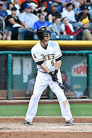 Shawn O'Malley (5) of the Salt Lake Bees at bat against the New Orleans Zephyrs in Pacific Coast League action at Smith's Ballpark on August 27, 2014 in Salt Lake City, Utah.  (Stephen Smith/Four Seam Images)