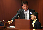 Nevada Lt. Gov. Brian Krolicki shows Tomas Sanchez, 11, around the Senate floor at the Legislative Building in Carson City, Nev., on Monday, Feb. 18, 2013. .Photo by Cathleen Allison
