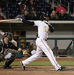 Reno Aces Didi Gregorius blast a home run against the Sacramento River Cats during their game played on Friday night, April 12, 2013 in Reno, Nevada.