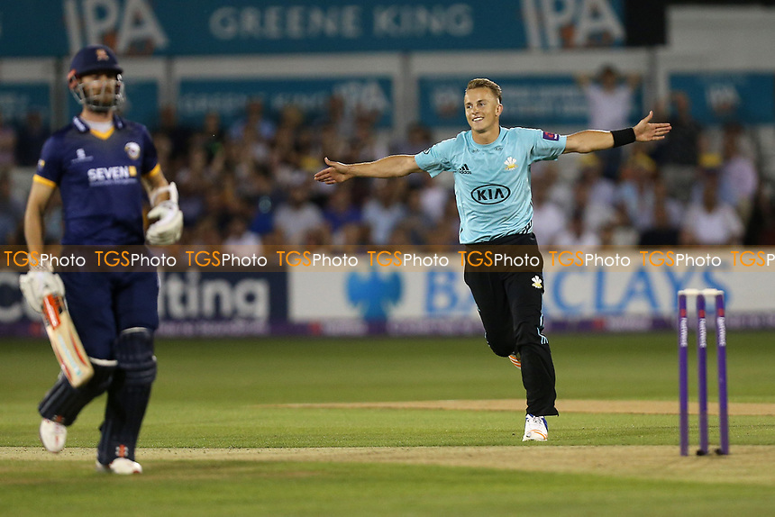 Tom Curran of Surrey celebrates victory during Essex Eagles vs Surrey, NatWest T20 Blast Cricket at The Cloudfm County Ground on 7th July 2017