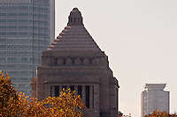 The Japanese government (DIET) building in Tokyo. Situated at 1-chome, Nagatacho, Chidoya ward in Tokyo the Japanese Diet building is where both houses of government meet. It is constructed of purely Japanese building materials and was completed in 1936. Tokyo, Japan Wednesday November 21st 2007
