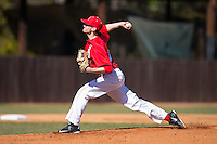 Belmont Abbey Crusaders starting pitcher Matt Davenport (25) delivers a pitch to the plate against the Shippensburg Raiders at Abbey Yard on February 8, 2015 in Belmont, North Carolina.  The Raiders defeated the Crusaders 14-0.  (Brian Westerholt/Four Seam Images)