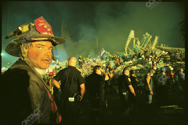 Firefighters and rescue workers at Ground Zero,  New York City, New York, USA, September 13, 2001