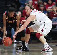 STANFORD, CA - January 22, 2011:  Kayla Pedersen goes for a steal during Stanford's 95-51 victory over USC at Stanford, California on January 22, 2011.