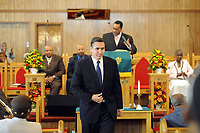 10/17/10 12:26:49 PM -- Darby, PA<br />  -- Democratic Congressional candidate Bryan Lentz speaks with the congregation of First Baptist Church October 17, 2010  in Darby, Pennsylvania. Bryan Lentz  faces Republican Pat Meehan  in the Nov. 2 general election.   --  Photo by William Thomas Cain/Cain Images