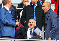 Former football and manager Peter Reid takes his seat, along with former Wigan manager Roberto Martinez <br /> <br /> Photographer Alex Dodd/CameraSport<br /> <br /> The EFL Sky Bet Championship - Wigan Athletic v Leeds United - Sunday 4th November 2018 - DW Stadium - Wigan<br /> <br /> World Copyright &copy; 2018 CameraSport. All rights reserved. 43 Linden Ave. Countesthorpe. Leicester. England. LE8 5PG - Tel: +44 (0) 116 277 4147 - admin@camerasport.com - www.camerasport.com