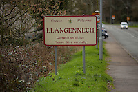 Pictured: A Llangennech sign on the B4297 Pontardulais Road, west Wales. Thursday 24 February 2017<br />