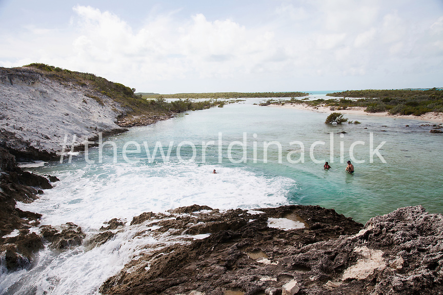 EXUMA, Bahamas. Rachel's Bubble Bath, a swimming hole on Compass Cay.