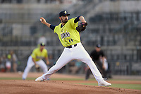 Starting pitcher Colin Holderman (11) of the Columbia Fireflies delivers a pitch in a game against the Augusta GreenJackets on Friday, May 31, 2019, at Segra Park in Columbia, South Carolina. Augusta won, 8-6. (Tom Priddy/Four Seam Images)