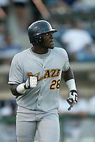 Elijah Dukes of the Bakersfield Blaze runs the bases during a 2004 season California League game against the Rancho Cucamonga Quakes in Rancho Cucamonga, California. (Larry Goren/Four Seam Images)