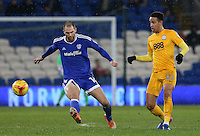 Callum Robinson of Preston North End is closely marked by Matthew Connolly of Cardiff City during the Sky Bet Championship match between Cardiff City and Preston North End at Cardiff City Stadium, Wales, UK. Tuesday 31 January 2017