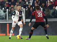 Calcio, Serie A: Juventus - Milan, Turin, Allianz Stadium, November 10, 2019.<br /> Juventus' Cristiano Ronaldo (l) in action with Milan's Lucas Paqueta (r) during the Italian Serie A football match between Juventus and Milan at the Allianz stadium in Turin, November 10, 2019.<br /> UPDATE IMAGES PRESS/Isabella Bonotto