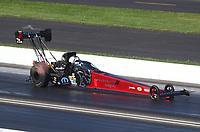 Jul 19, 2020; Clermont, Indiana, USA; NHRA top fuel driver Leah Pruett during the Summernationals at Lucas Oil Raceway. Mandatory Credit: Mark J. Rebilas-USA TODAY Sports