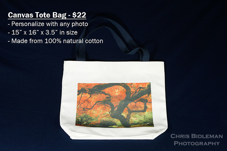 Canvas Tote Bag with custom photo - Have any photo from Chris Bidleman Photography collection on your bag.  Measures 15&quot; x 16&quot; x 3.5&quot; with blue straps.<br /> <br /> These on-the-go canvas bags are practical for business and personal use. Customize your tote bags with your favorite photos from Chris Bidleman Photography.  These tote bags have so many uses, it's hard to name them all! They are the perfect gift for mom, grandma or even a favorite teacher.  If you need a giveaway or present for your most loyal customers, then these custom tote bags are just perfect.  <br /> <br /> Want to go green? Then say goodbye to paper and plastic grocery bags and hello to these 100% cotton canvas tote bags.  They are durable and great for the environment.
