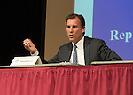 Old Westbury, New York, U.S. 8th October 2013. Democrat THOMAS SUOZZI, the former Nassau County Executive, debates with current Nassau County Executive Mangano at debate hosted by the Nassau County Village Officials Association, representing 64 incorporated villages with 450,000 residents, as the opponents face a rematch in the 2013 November elections.