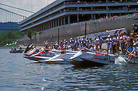 Start: Ben Robertson (#57), Don Jenkinson (#12) and Cees van der Velden (#1) USFORA Formula One (F1) Tunnel Boats, Cincinnati, Ohio 1988