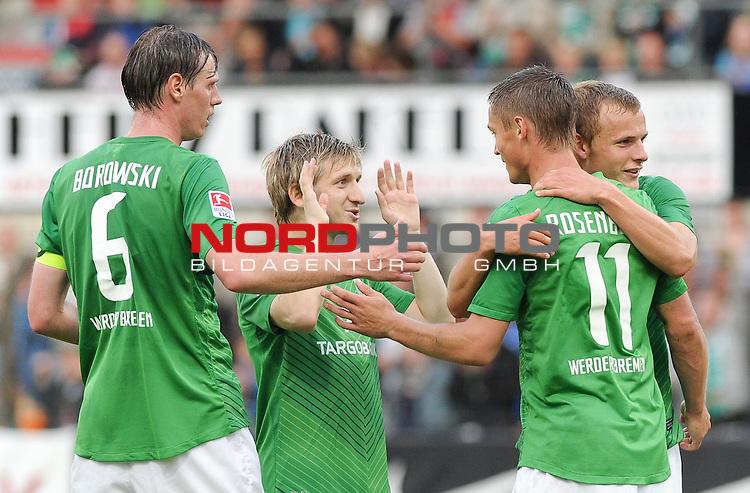 26.07.2011, MEP Arena, Meppen, GER, FSP, Werder Bremen vs Olympiakos Pir&auml;us, im Bild Jubel bei Tim Borowski (Bremen #6), Marko Marin (Bremen #10), Markus Rosenberg (Bremen #11), Lennart Thy (Bremen #36)<br /> <br /> // during friendly match Werder Bremen vs Olympiakos Pir&auml;us on 2011/07/26,  MEP Arena, Meppen, Germany.<br /> Foto &copy; nph / Frisch