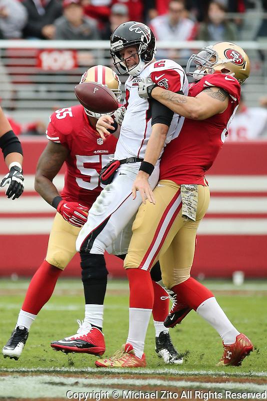 Atlanta Falcons quarterback Matt Ryan #2 and San Francisco 49ers outside linebacker Aaron Lynch #59 during an NFL game played at Levi's Stadium on November 8, 2015. (AP Photo/Michael Zito)