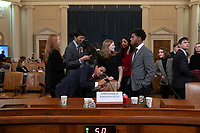 Students from schools across the United States take pictures of the name plate of Former U.S. Ambassador to Ukraine Marie Yovanovitch during a break in her testimony before the U.S. House Permanent Select Committee on Intelligence on Capitol Hill in Washington D.C., U.S., on Friday, November 15, 2019. <br /> <br /> Credit: Stefani Reynolds / CNP/AdMedia