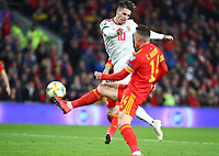 19th November 2019; Cardiff City Stadium, Cardiff, Glamorgan, Wales; European Championships 2020 Qualifiers, Wales versus Hungary; Dominik Szoboszlai of Hungary shoots past Welsh player Roberts during the first half - Editorial Use