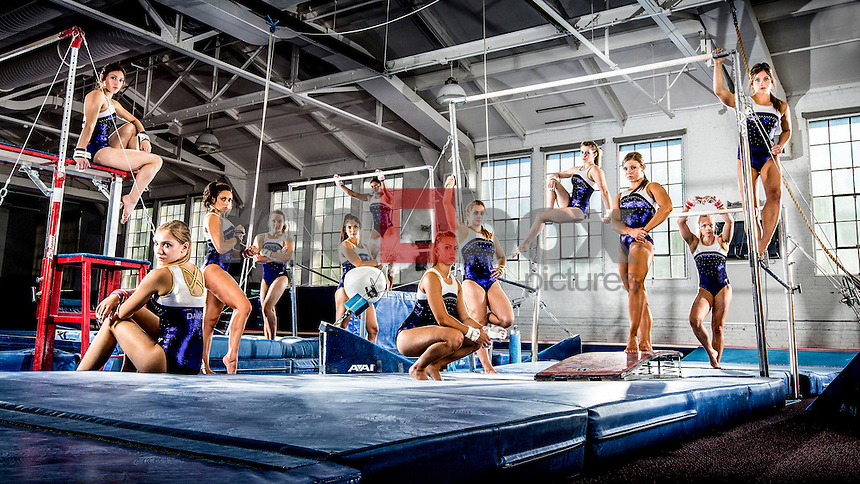 The University of Washington women's gymnastics team photographed on September 11, 2013 at the UW in Seattle. (Photo by Scott Eklund /Red Box Pictures)