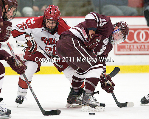 Luke Greiner (Harvard - 26), Austin Mayer (Colgate - 19) - The Harvard University Crimson defeated the visiting Colgate University Raiders 4-2 on Saturday, November 12, 2011, at Bright Hockey Center in Cambridge, Massachusetts.