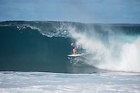 Pipeline-Backdoor, North Shore, Oahu, Hawaii. (Sunday December 11, 2016):  Finn McGill (HAW) - The Men's Pipe Invitational, the selection trials for the Billabong Pipeline Masters was run today at Backdoor and Pipeline. Two surfers, Finn McGill (HAW) and Gavin Beschen (HAW) won there way through to the main event. 32 surfers started in the trials with four man heats running all day through to final. McGill combo the other finalists with Beschen filling second spot. The NW swell meant a lot of the surfing was at Backdoor with the occasional Pipeline wave. <br /> Photo: joliphotos