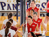 20 November 2008:  Western Kentucky players shake hands with Denver following the WKU 3-0 victory over Denver in the first round of the Sun Belt Conference Championship tournament at FIU Stadium in Miami, Florida.