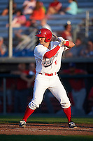 Auburn Doubledays first baseman David Kerian (21) at bat during a game against the Williamsport Crosscutters on June 25, 2016 at Falcon Park in Auburn, New York.  Auburn defeated Williamsport 5-4.  (Mike Janes/Four Seam Images)