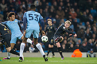 Gary Mackay-Steven of Celtic shoots at goal during the UEFA Champions League GROUP match between Manchester City and Celtic at the Etihad Stadium, Manchester, England on 6 December 2016. Photo by Andy Rowland.