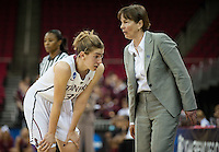 FRESNO, CA--Head Coach Tara VanDerveer gives instruction to Toni Kokenis during a 76-60 win over South Carolina at the Save Mart Center for the West Regionals semifinals of the 2012 NCAA Championships.