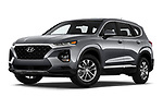 Stock pictures of low aggressive front three quarter view of a 2019 Hyundai Santa FE SE 4 Door SUV