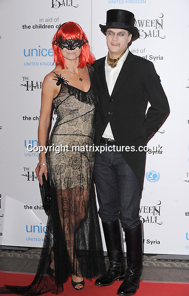 NON EXCLUSIVE PICTURE: PAUL TREADWAY / MATRIXPICTURES.CO.UK<br /> PLEASE CREDIT ALL USES<br /> <br /> WORLD RIGHTS<br /> <br /> English socialite Jemma Kidd and husband Arthur Wellesley attending the UNICEF Halloween Ball at London's One Mayfair.<br /> <br /> OCTOBER 31st 2013<br /> <br /> REF: PTY 137081