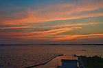 A colorful sky at twilight, seen over the Currituck Sound after sunset