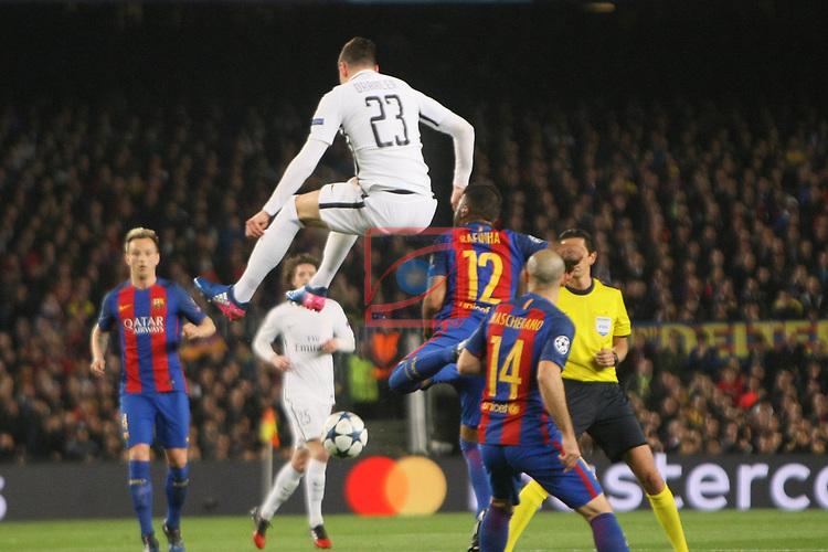 UEFA Champions League 2016/2017.<br /> Round of 16 2nd leg<br /> FC Barcelona vs Paris Saint-Germain: 6-1.<br /> Julian Draxler, Rafinha &amp; Javier Mascherano.