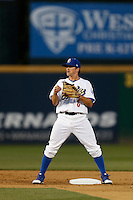 Scott Wingo #6 of the Rancho Cucamonga Quakes during a game against the Modesto Nuts at The Epicenter on April 9, 2013 in Rancho Cucamonga, California. Rancho Cucamonga defeated Modesto, 1-0. (Larry Goren/Four Seam Images)