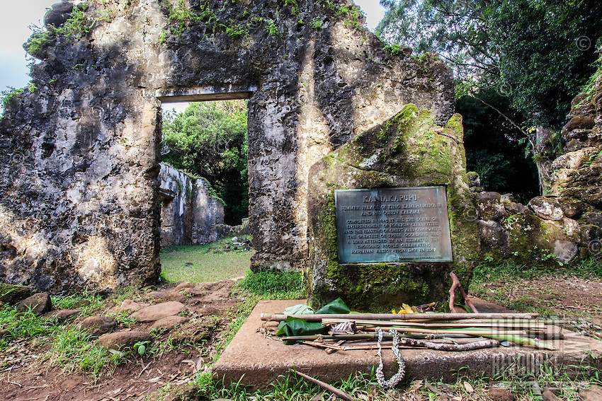 A plaque at the ancient Summer Palace of King Kamehameha III and Queen Kalama (or Kaniakapupu Ruins), Nu'uanu Valley, O'ahu.