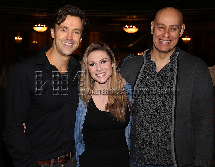 Michael Xavier, Siobhan Dillon and Fred Johanson attend the Actors' Equity Opening Night Gypsy Robe Ceremony for 'Sunset Boulevard'  honoring Matt Wall at the Palace Theatre Theatre on February 9, 2017 in New York City.