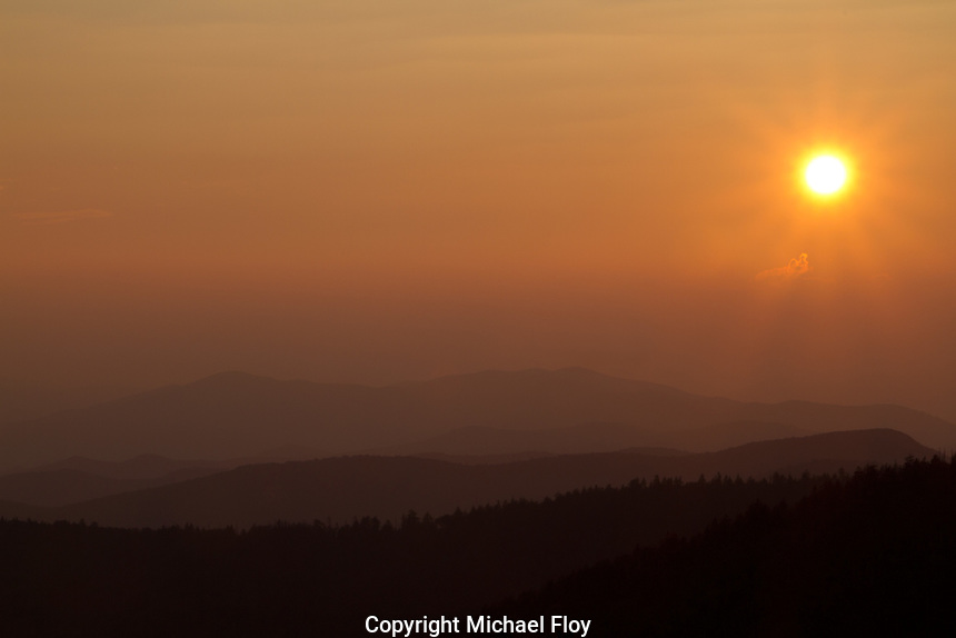 Sunset over the Great Smoky Mountains viewed from Clingman's Dome
